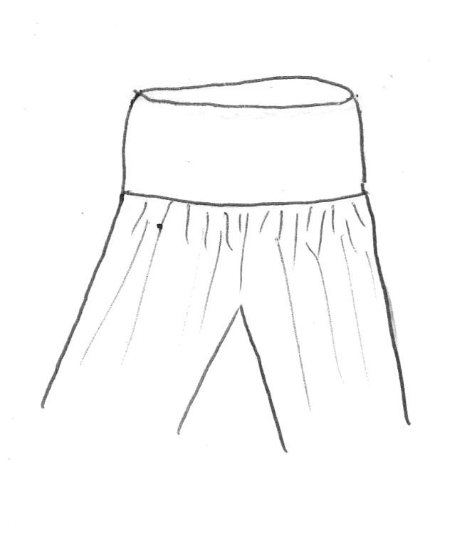 ....assemblez la ceinture à la taille de la jupe culotte...
